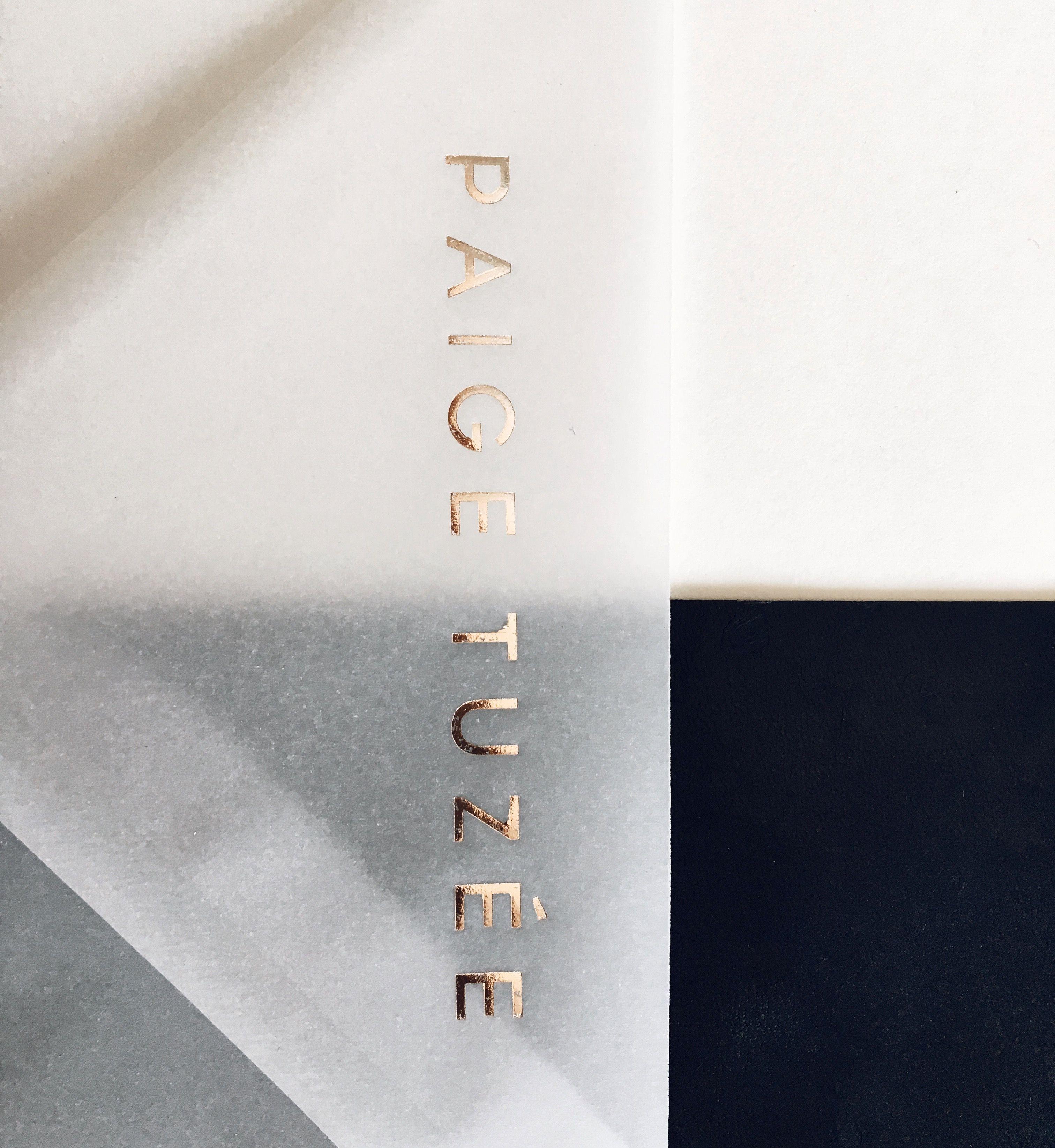 Rose gold on vellum / @paigetuzee_designs | Branding | Pinterest ...
