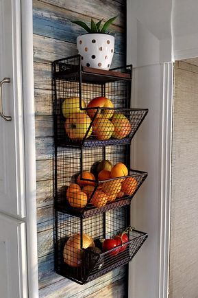 3-Tier Black Metal Wire Wall-Mounted Produce Baskets & Storage Bins with Wood Bases