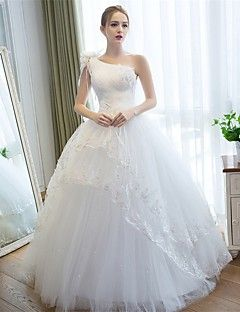 Cool Ball Gown Wedding Dress Floor length One Shoulder Satin Tulle with Appliques Flower