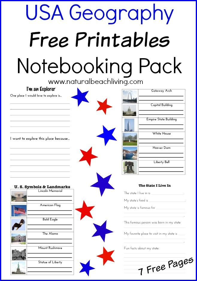 free usa geography printable pack geography ideas activities and lessons elementary state - State Printables