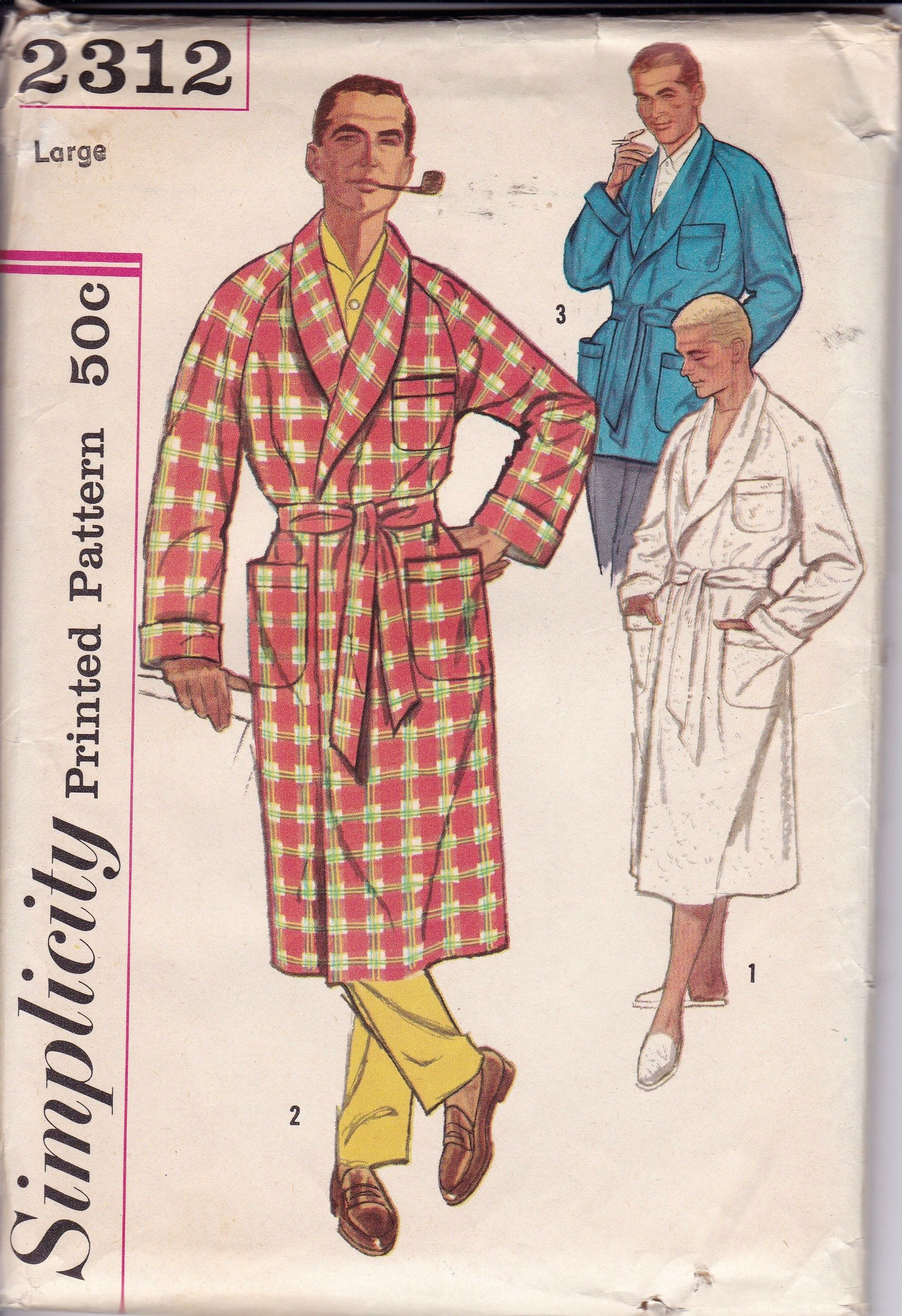 Men S Robe And Lounge Jacket Size Large Sewing Pattern 46 To 48 Inch Chest Size Vintage Lounge Jacket Fashion Illustration Vintage Vintage Sewing Patterns