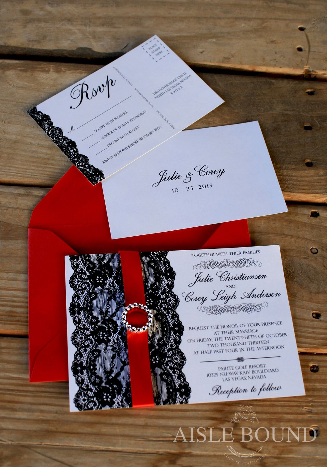 vintage hollywood wedding invitation metallic red envelope black lace postcard rsvp
