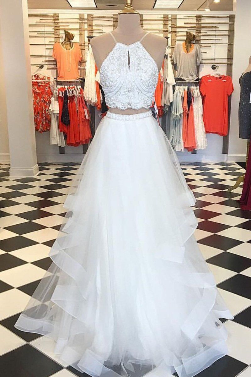 White two pieces beads tulle long prom dress make up pinterest