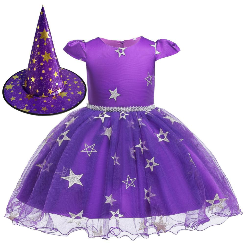 Hat Outfit Set Girls Witch Costume Halloween Princess Party Stars Tulle Dress