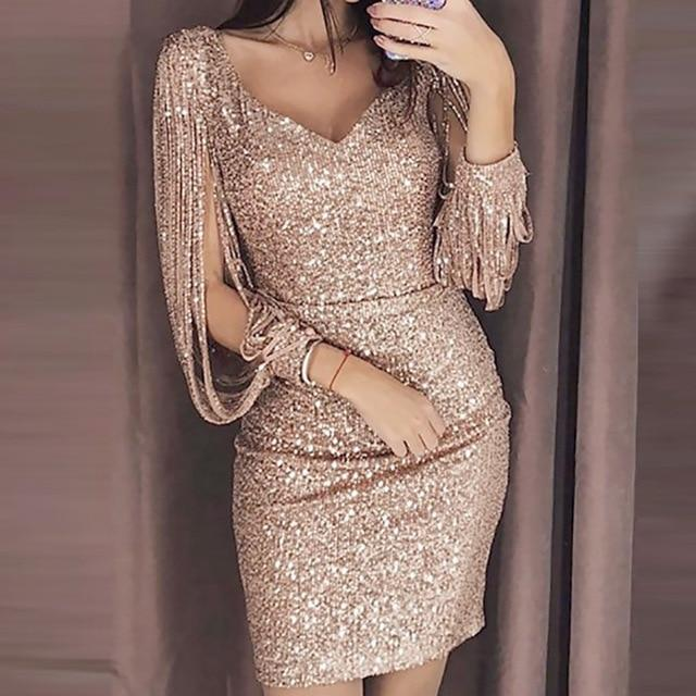 Glitter Long Sleeved Mini Dress - Sequin party dress, Long sleeve mini dress, Bodycon dress, Evening dresses, Party dress, Clothes for women - 2019 Collection Allure Lane   Glitter Long Sleeved Mini Dress