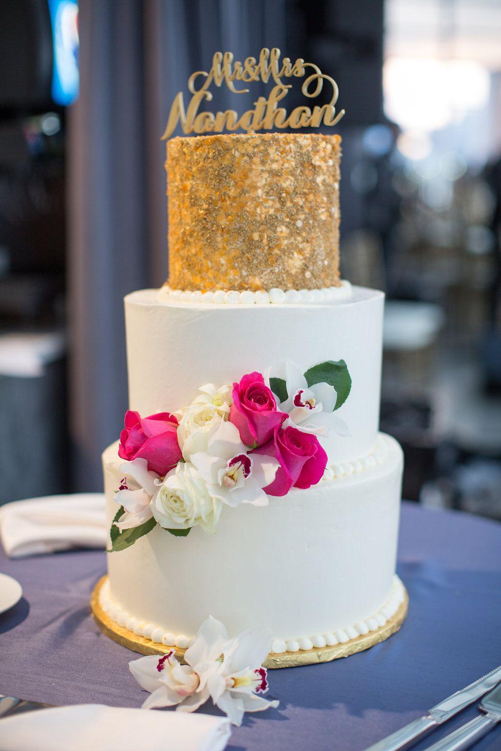 Gold and White Wedding Cake / Indian Wedding / Summer