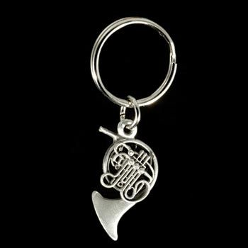Pewter French Horn Key Chain