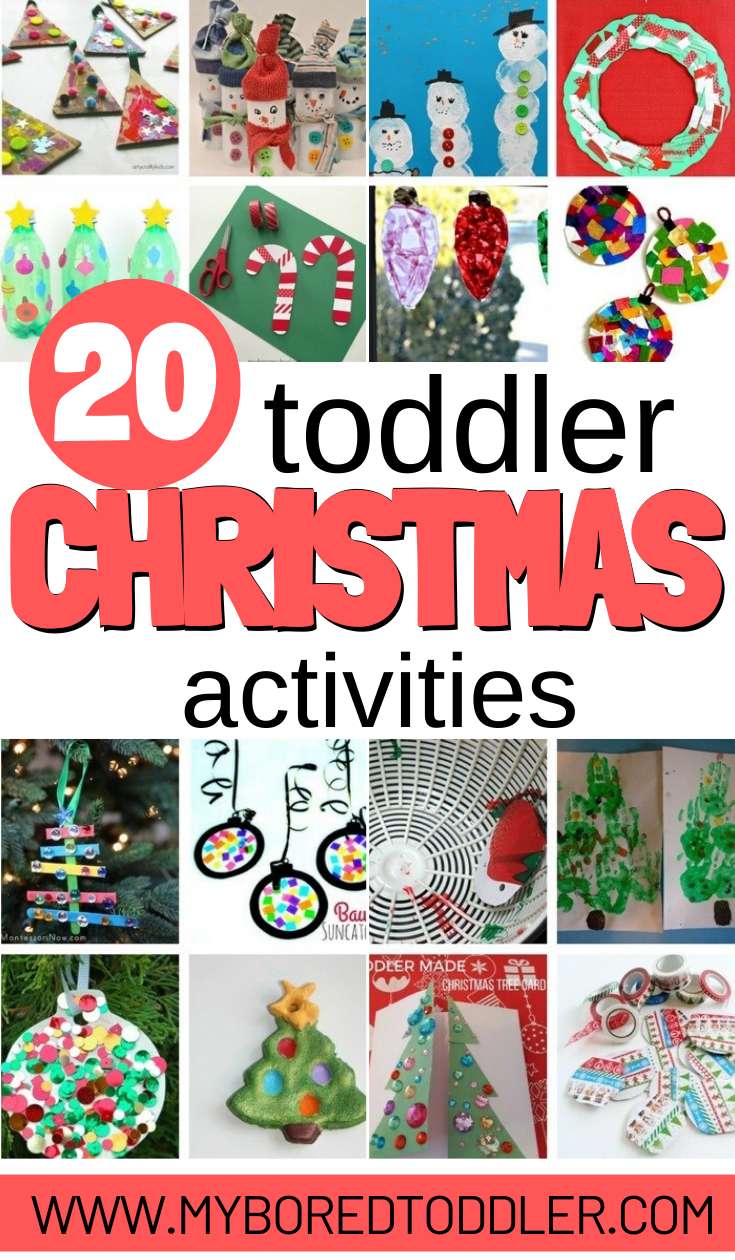Easy toddler christmas craft ideas and toddler christmas activity ideas - great for 1 year olds, 2 year olds, 3 year olds and 4 year olds #christmas #christmascraft #toddlercraft #myboredtoddler #toddleractivity #toddlerchristmas #oneyearold #twoyearold #threeyearold