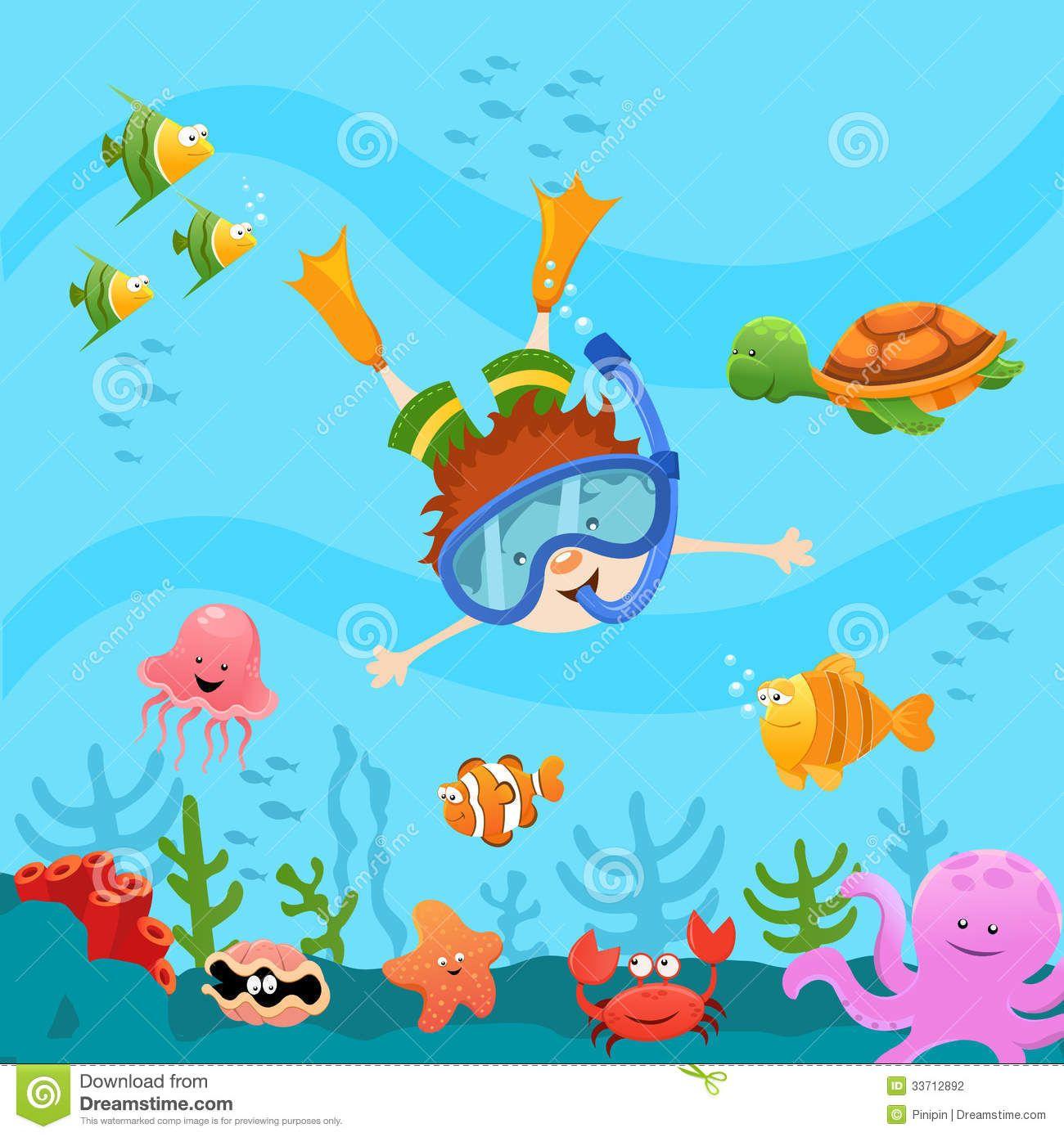 cute little kid diving explore the ocean clipart summer under the rh pinterest com ocean clip art black and white ocean clip art pictures