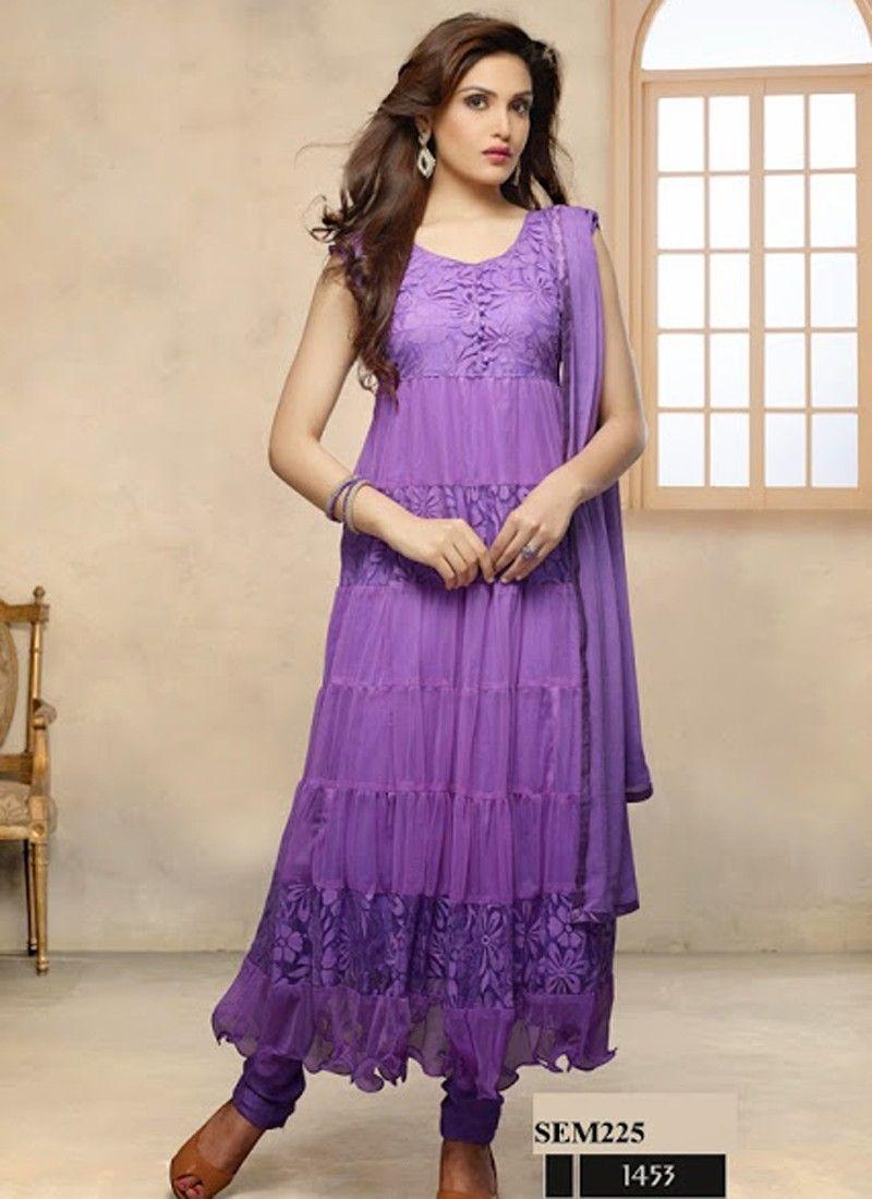 4d585ae630cf Buy Brasso Designer Purple Anarkali Suit Price and Features. Shop Brasso  Designer Purple Anarkali Suit Online for best deal