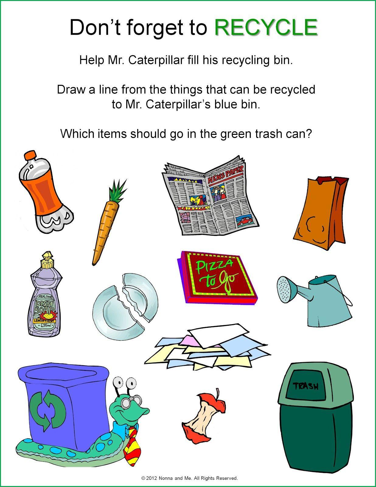 Recycle Worksheets For Kindergarten Kindergarten Worksheets Kindergarten Earth Day Activities [ 1600 x 1236 Pixel ]