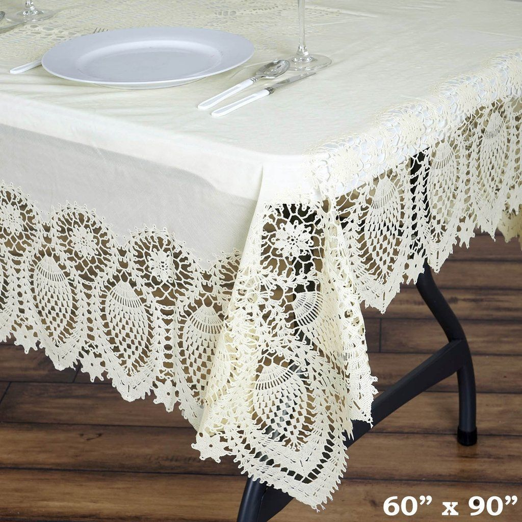 60 X90 Eco Friendly Ivory 0 6mil Thick Disposable Waterproof Lace Vinyl Tablecloth Protector Cover Vinyl Tablecloth Waterproof Tablecloth Table Cloth