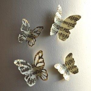 papillons muraux partition musique wall butterflies d co mariage pinterest partition. Black Bedroom Furniture Sets. Home Design Ideas