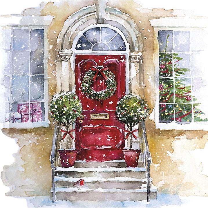 UK Greetings Christmas Door Charity Christmas Cards, Pack