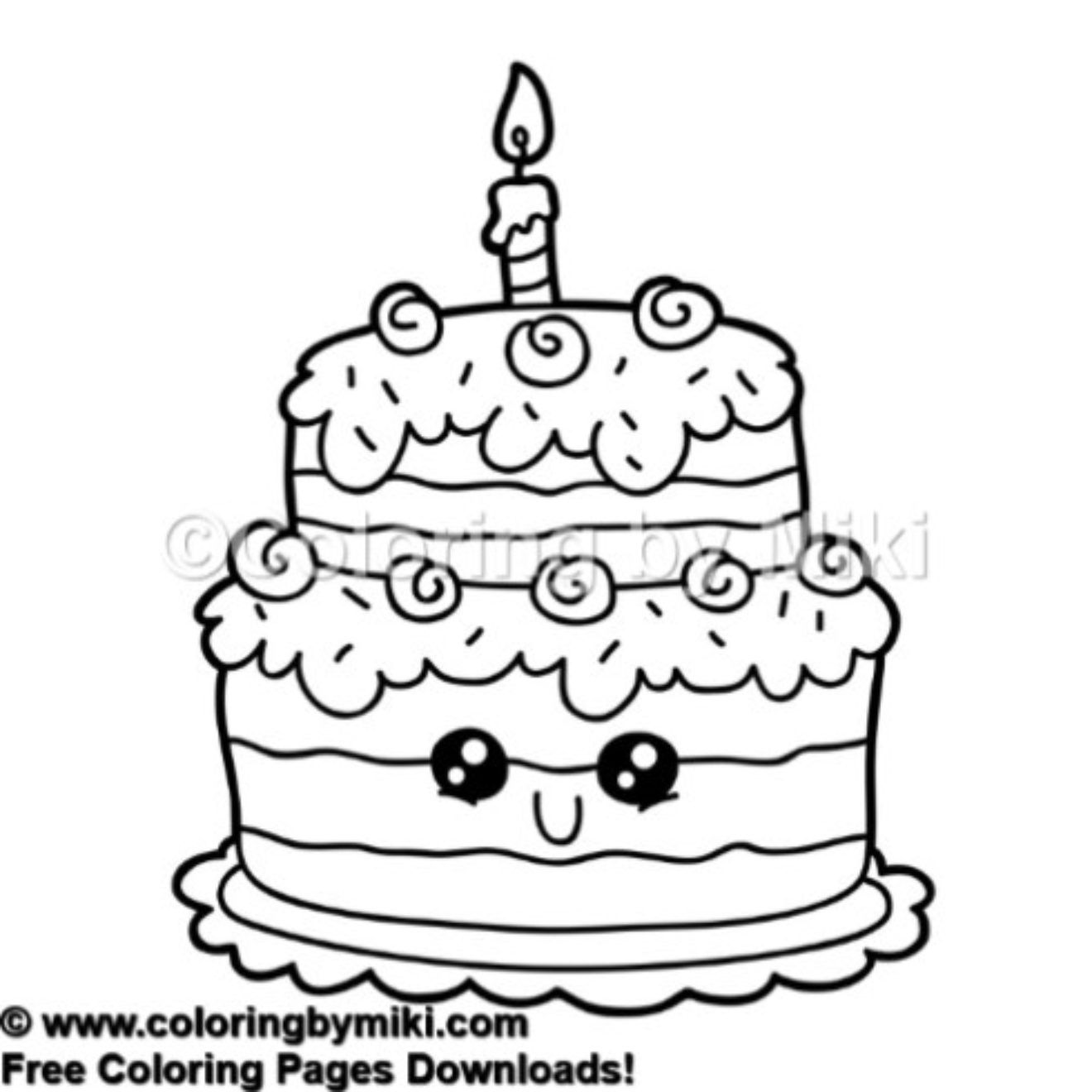 - Cute Birthday Cake Coloring Page 527 #kidsactivities
