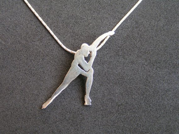 speed skating jewelry | Silver Necklace - Ice Skater Silhouette Pendant - Speed Skating - Ice ...