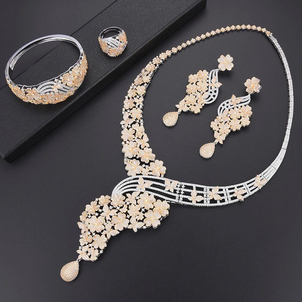 Luxury blossom wedding collar necklace cz dubai jewelry sets for