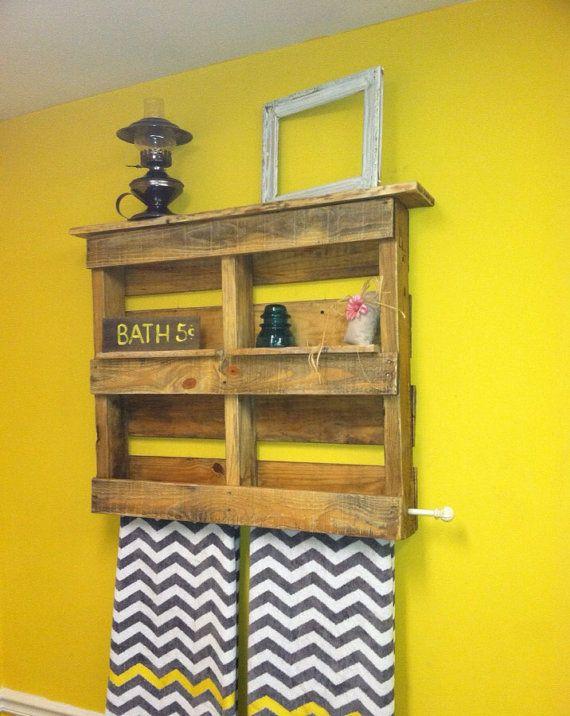Pallet Bathroom Shelf With Towel Rack By Sawmillcreations On Etsy 49 00 Pallet Bathroom Shelf