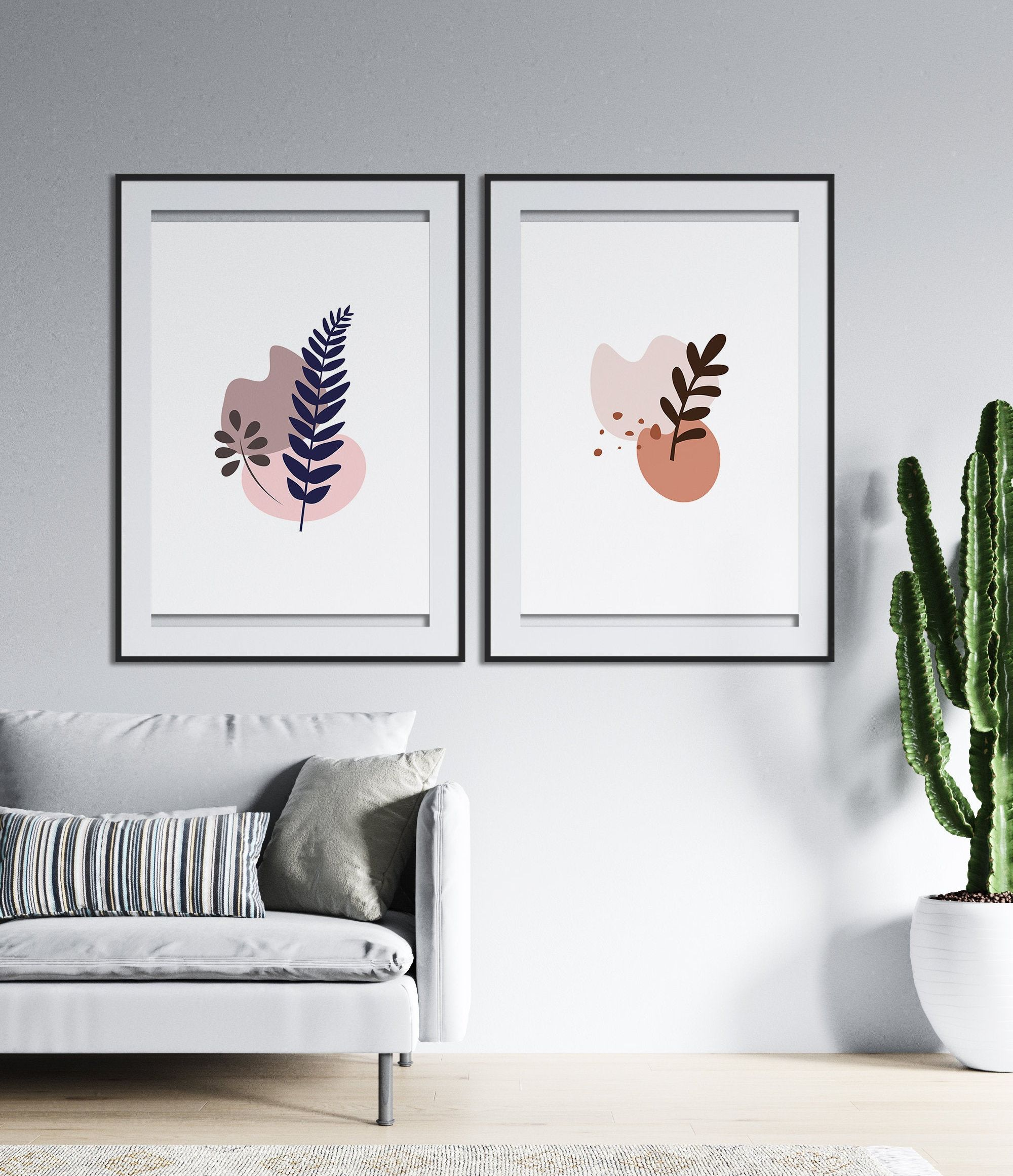 Abstract Shapes Print 3 Piece Wall Art Digital Download Minimalistic Leaf Composition Different Sizes Botanical Wall Art Home Decor In 2020 Etsy Wall Art 3 Piece Wall Art Botanical Wall Art