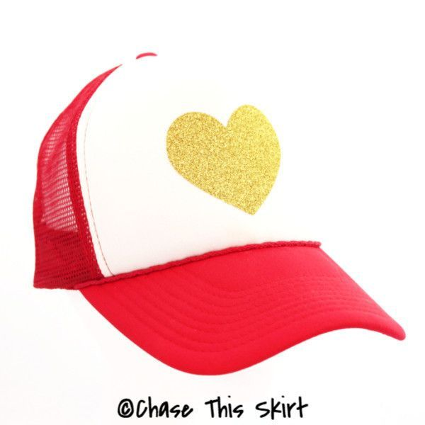 Sparkle Heart Trucker Hat in Red and Gold