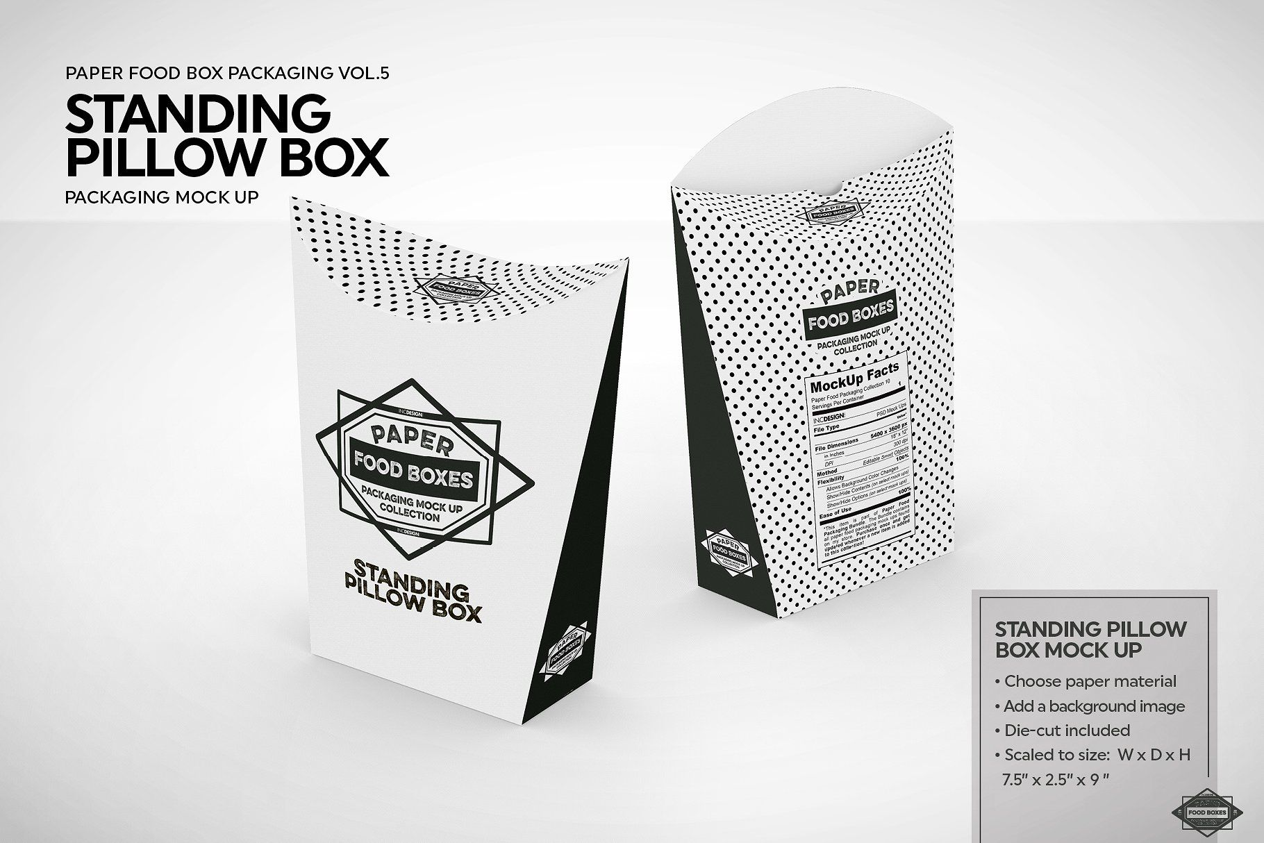 Standing Pillow Box Packaging Mockup Packaging Mockup Free Packaging Mockup Pillow Box