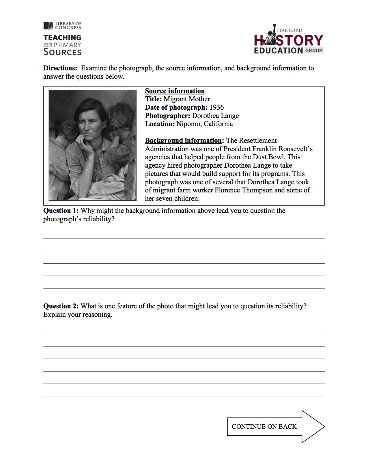 In This Free Assessment Students Must Consider How The Contextual Information About The Creation Of History Education Historical Thinking Historical Evidence