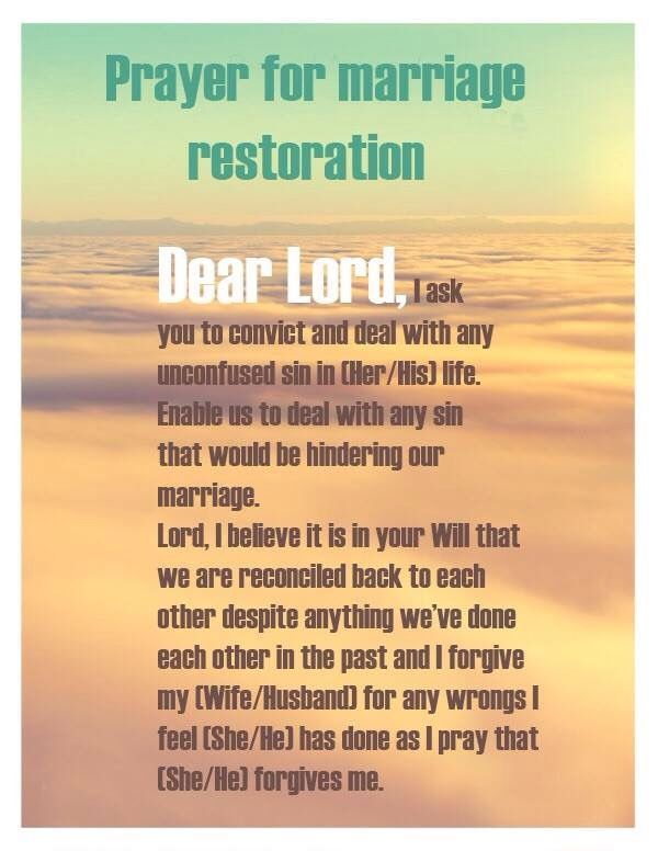 Prayer for marriage restoration, Marriage restoration