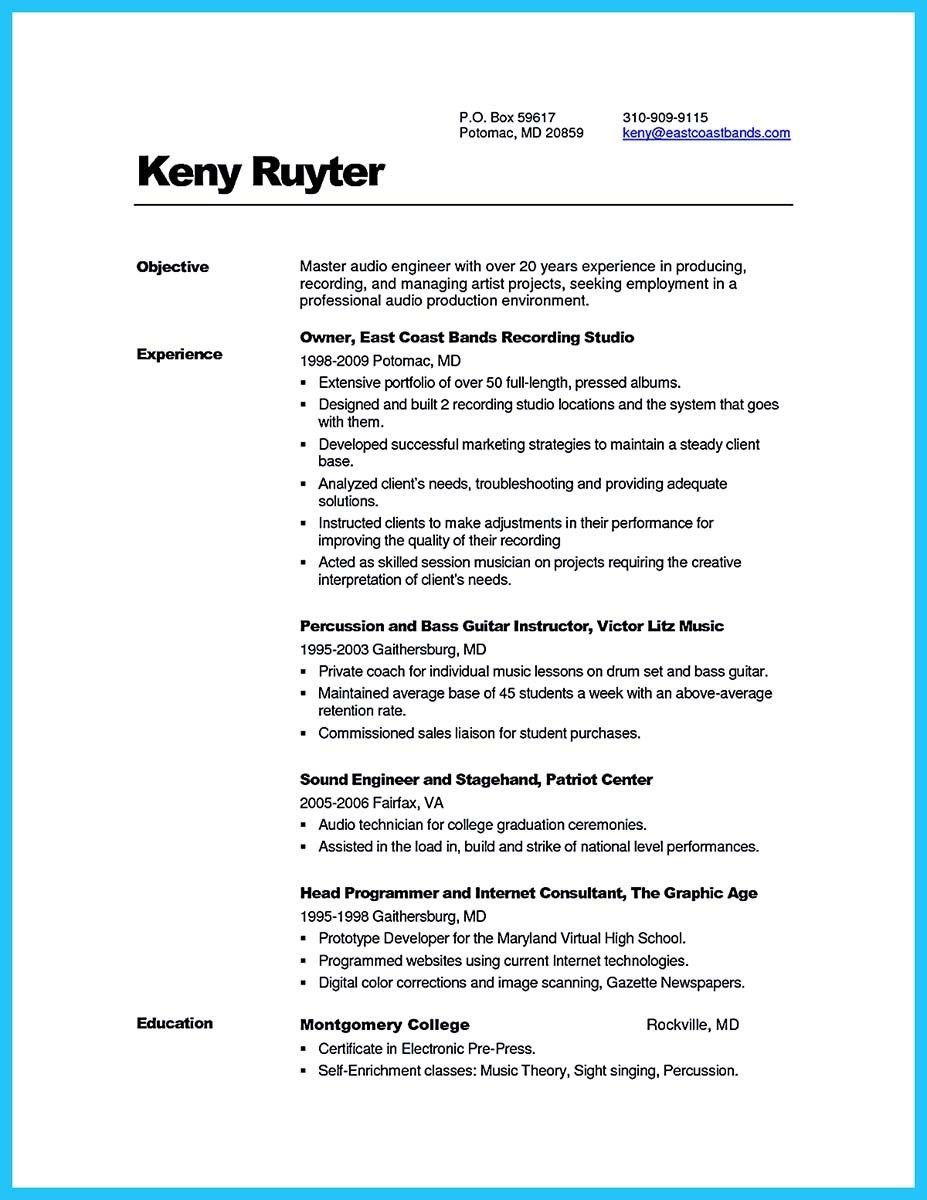 cool Crafting a Representative Audio Engineer Resume