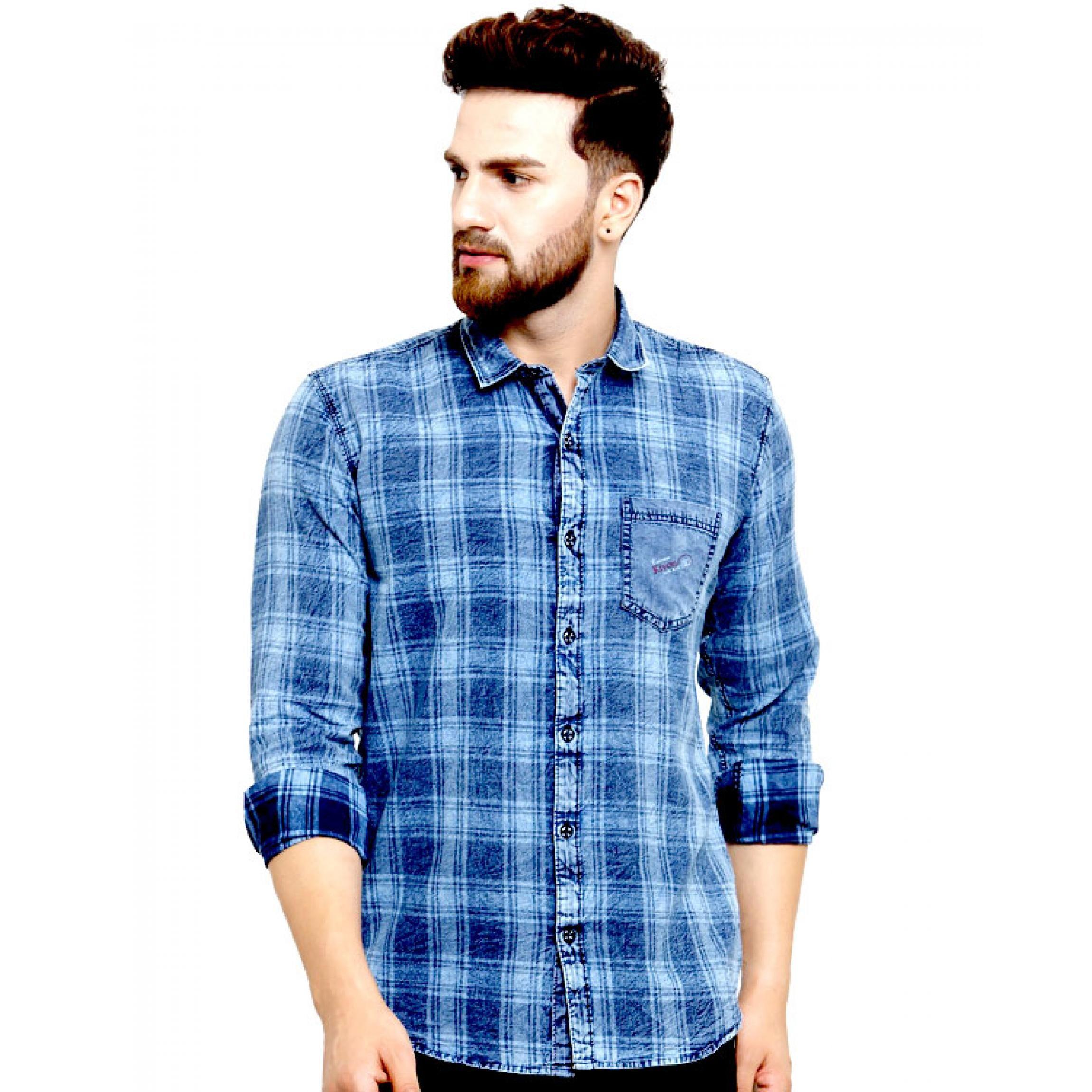 f43a737b41 Kivon Mens Casual Checkred Denim Shirt Blue – Kivon Shirts