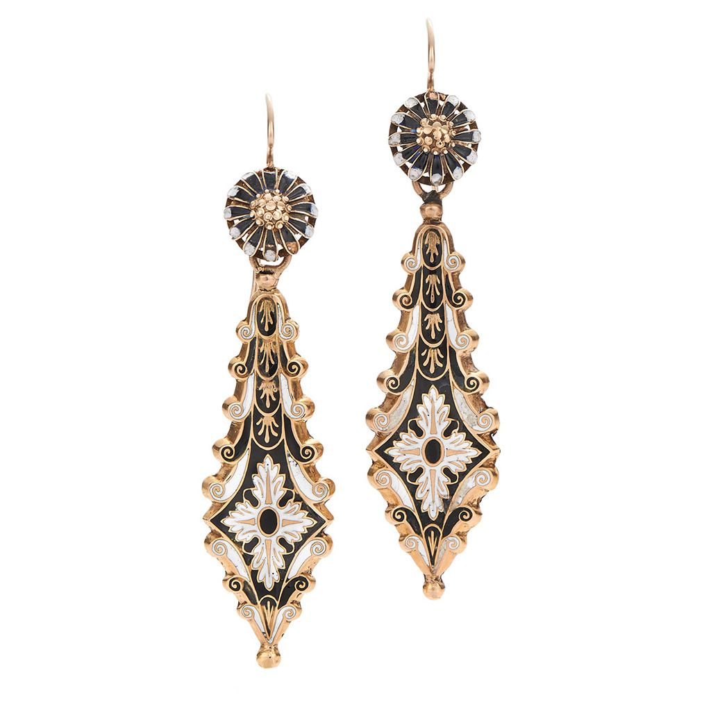 Antique swiss enamel gold pendant earrings from a unique antique swiss enamel gold pendant earrings 1stdibs aloadofball Gallery