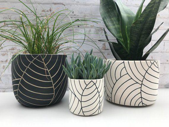MADE TO ORDER – All black leaf carved large ceramic planter – modern wheel thrown pottery planter – modern ceramics – minimalist pottery