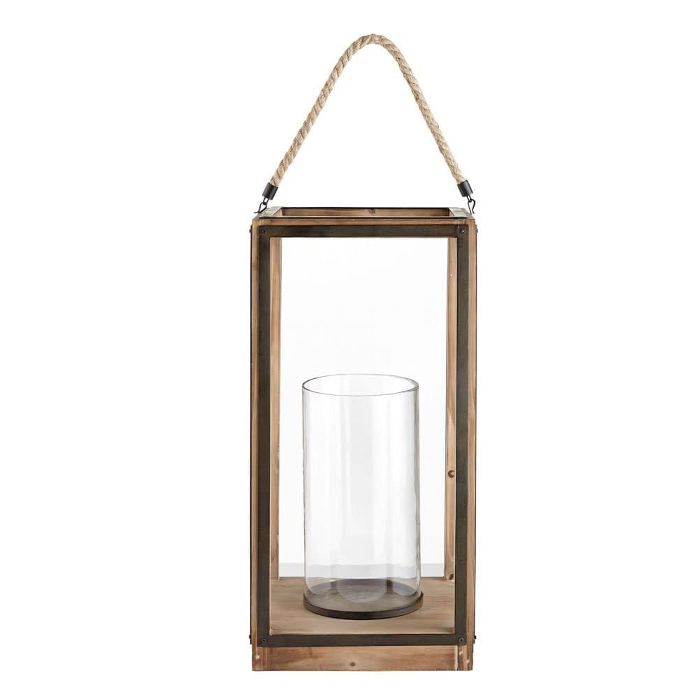 Laterne Aus Glas Und Tannenholz Lanternes En Verre Lanterne Sapin Maison Du Monde