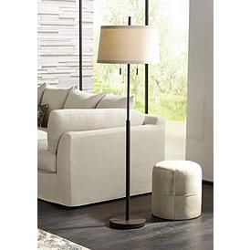 Nayla Bronze Double Pull Chain Floor Lamp Off White Shade