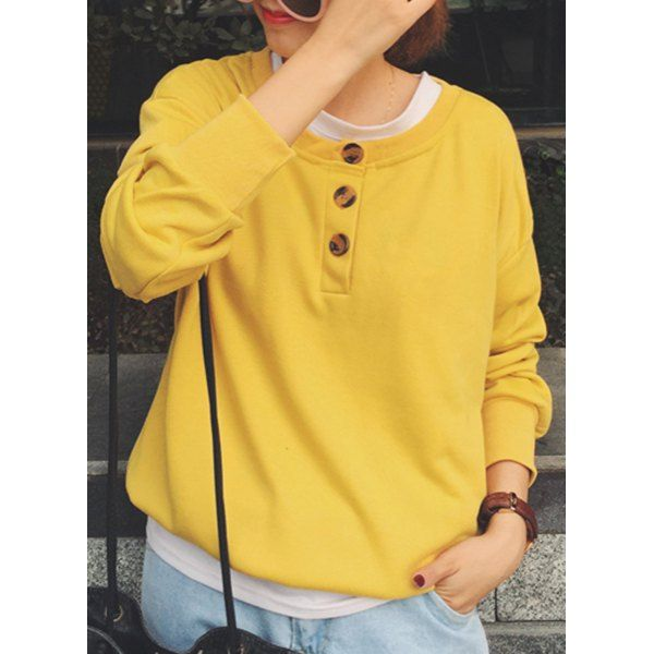 Wholesale Chic Scoop Neck Long Sleeve Loose-Fitting Women's Sweatshirt Only $7.22 Drop Shipping | TrendsGal.com
