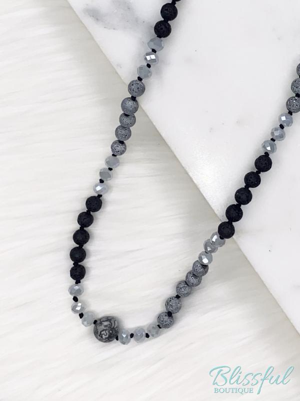 Lava Stone & Bead Necklace