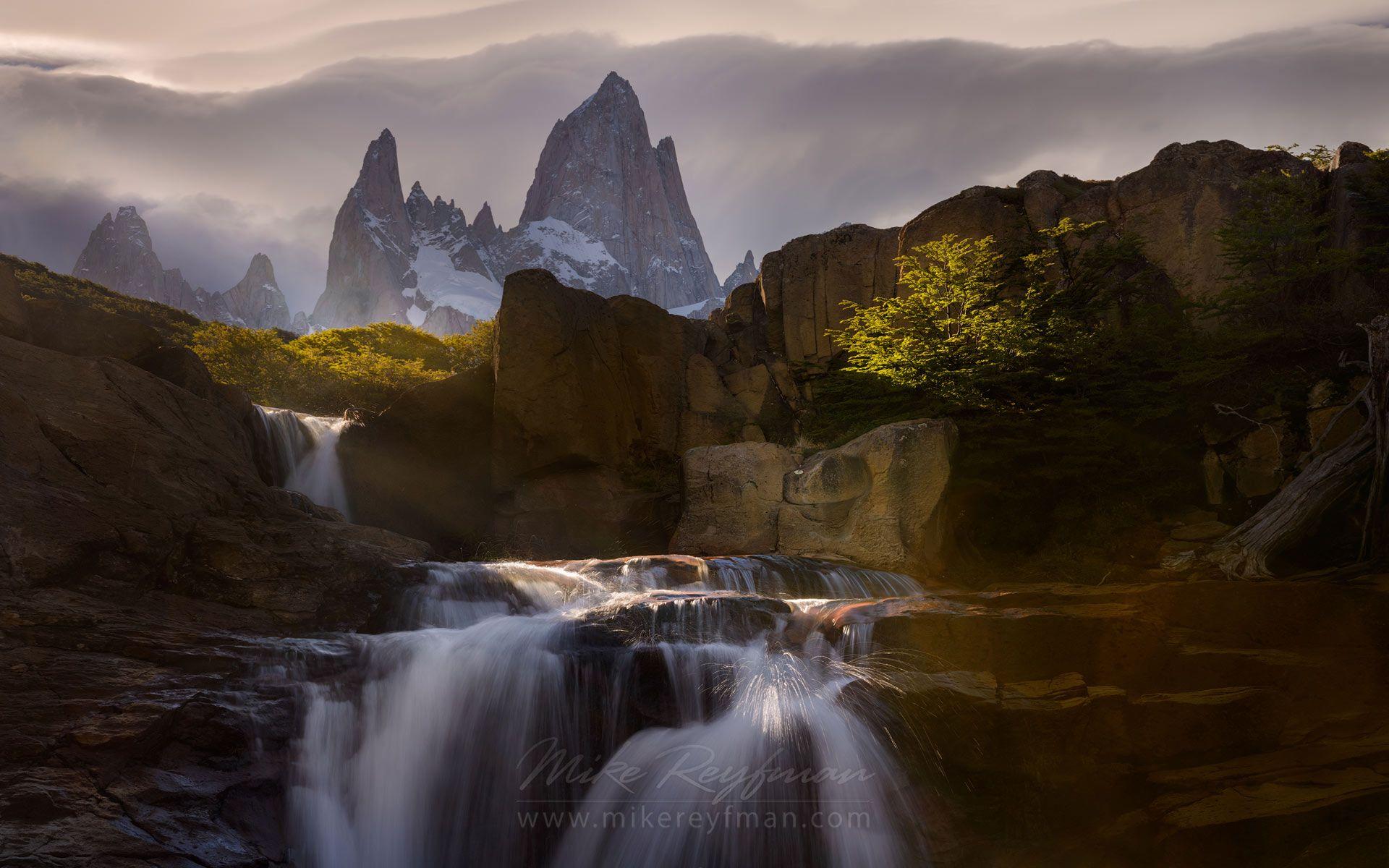 Light & Water Show. Waterfall on the Arroyo Del Salto River below Mount Fitzroy. Los Glaciares National Park, Patagonia, Argentina.   - Fitzroy-Cerro-Torre-Perito-Moreno-Patagonia-Argentina - Mike Reyfman Photography