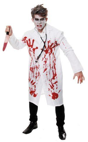 Adult Men/'s Halloween Bloody Doctor Coat /& Mask Fancy Dress Up Costume One Size