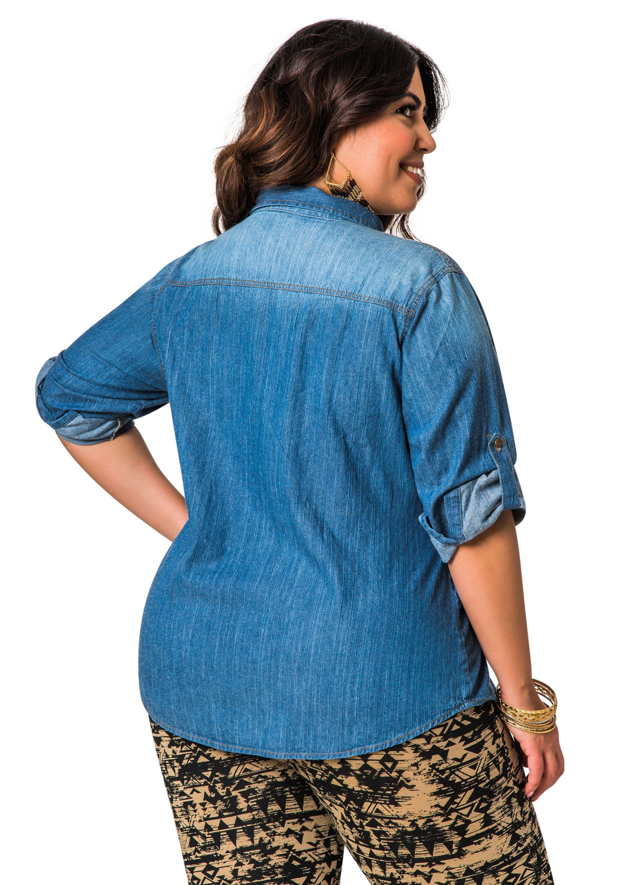 6b573da564e Zip Pocket Denim Shirt - Ashley Stewart Plus Size Blouses