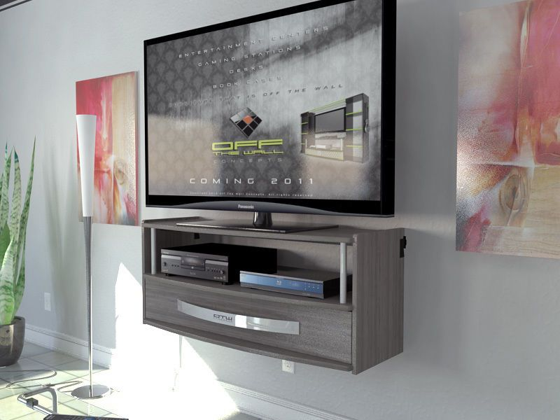 Wall Mounted Media Console Tv Stand Black Wood Grain Home