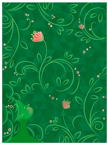 Appreciation, Flower, Girl, Floral, Pink, Green. Illustration by Rani Bean Art