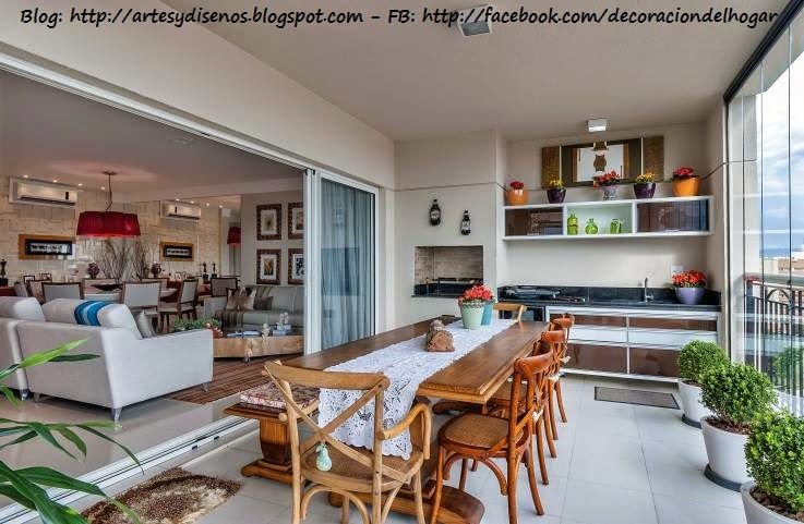 Decoraci n de terraza integrada con cocina by for Decoracion living comedor con cocina integrada