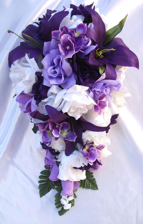 10pcs Bridal Bouquet Wedding Flower Package Purple Lavender Lily