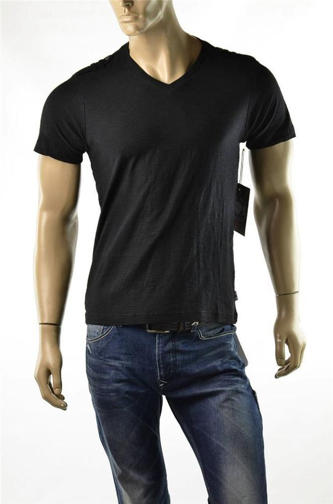 English Laundry Black T Shirt Lions Crest Men S S S V Neck T
