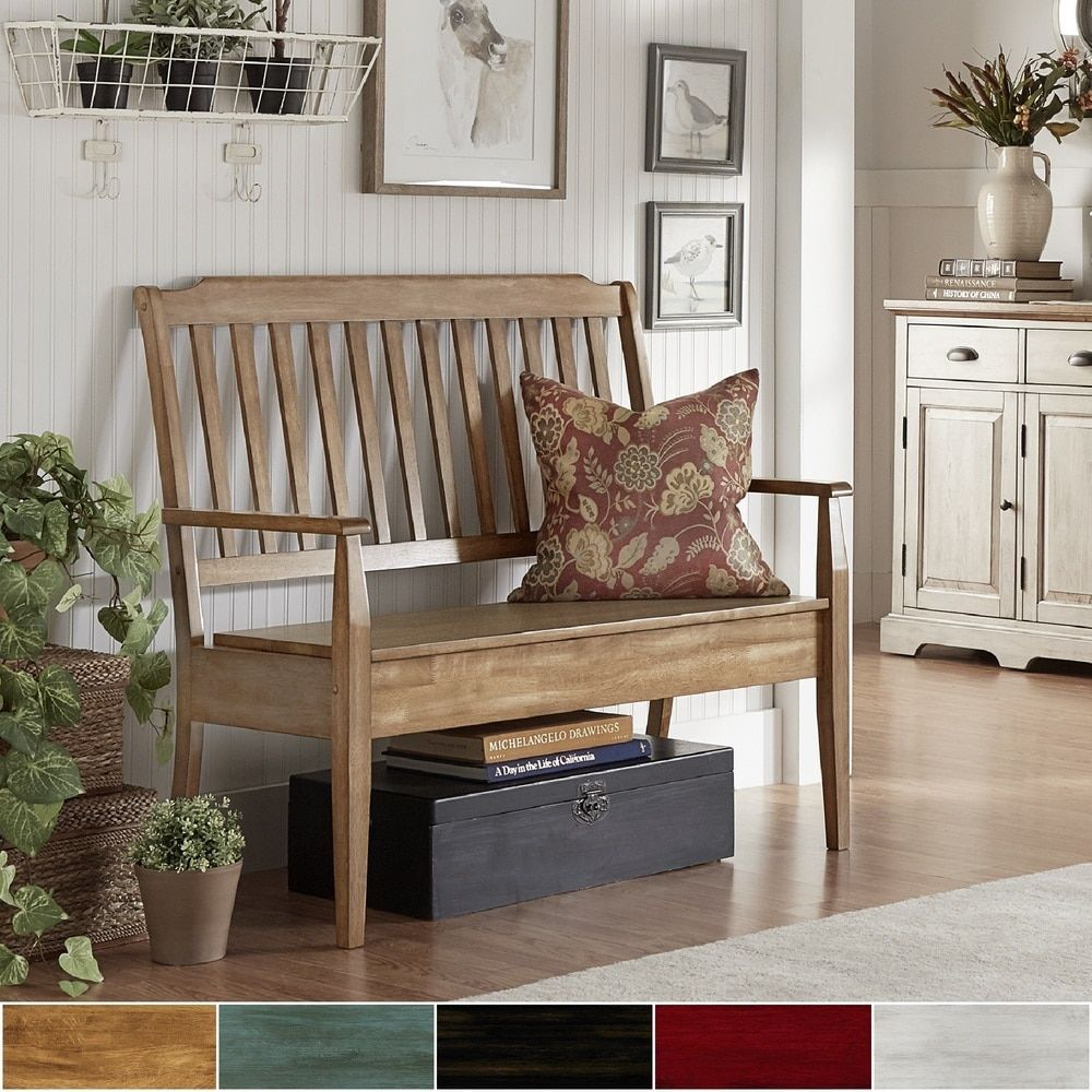 Eleanor Slat Back Wood Storage Bench By TRIBECCA HOME