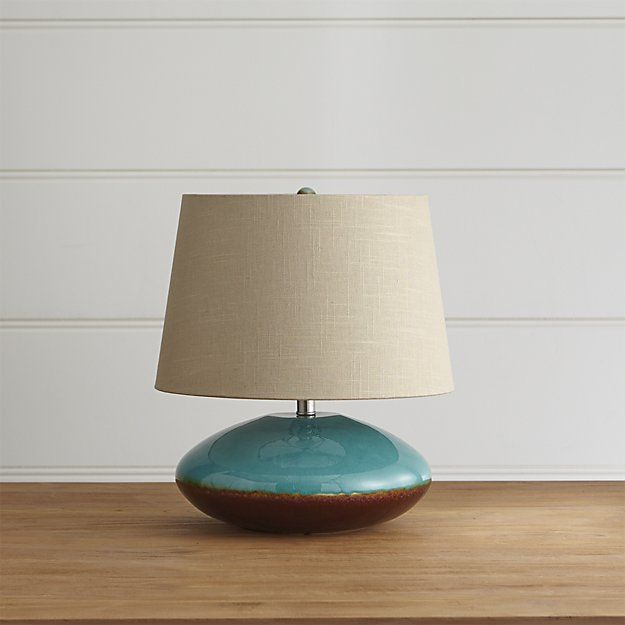 Shop kelton table lamp turquoise and ombre brown meld in glossy elliptical base handcrafted