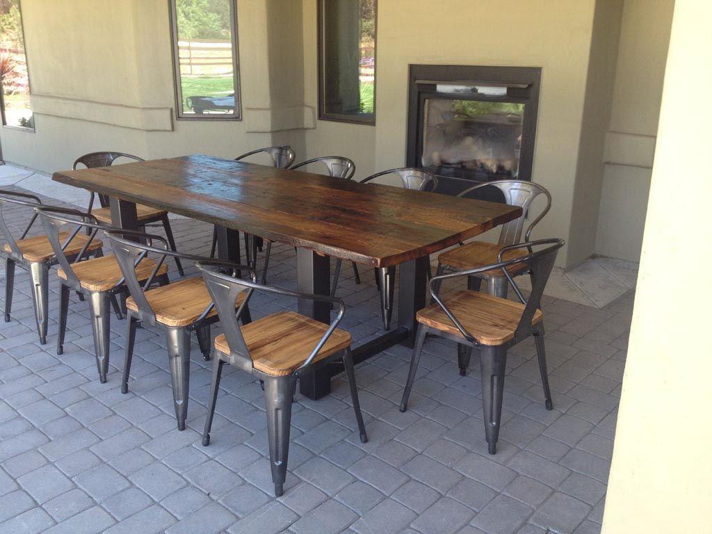 Metal and Wood Garden Furniture Modern wood coffee table