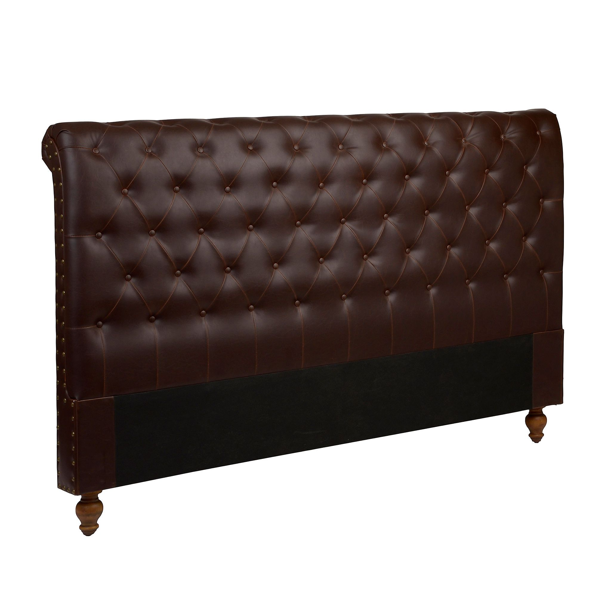 Rich Espresso Faux Leather Tufted King Headboard Kirklands