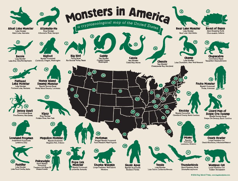 The Philadelphia Based Hog Island Press Print Shop Has Created Monsters In America A Cryptozoological Map Of The United States That Features All Sorts Of