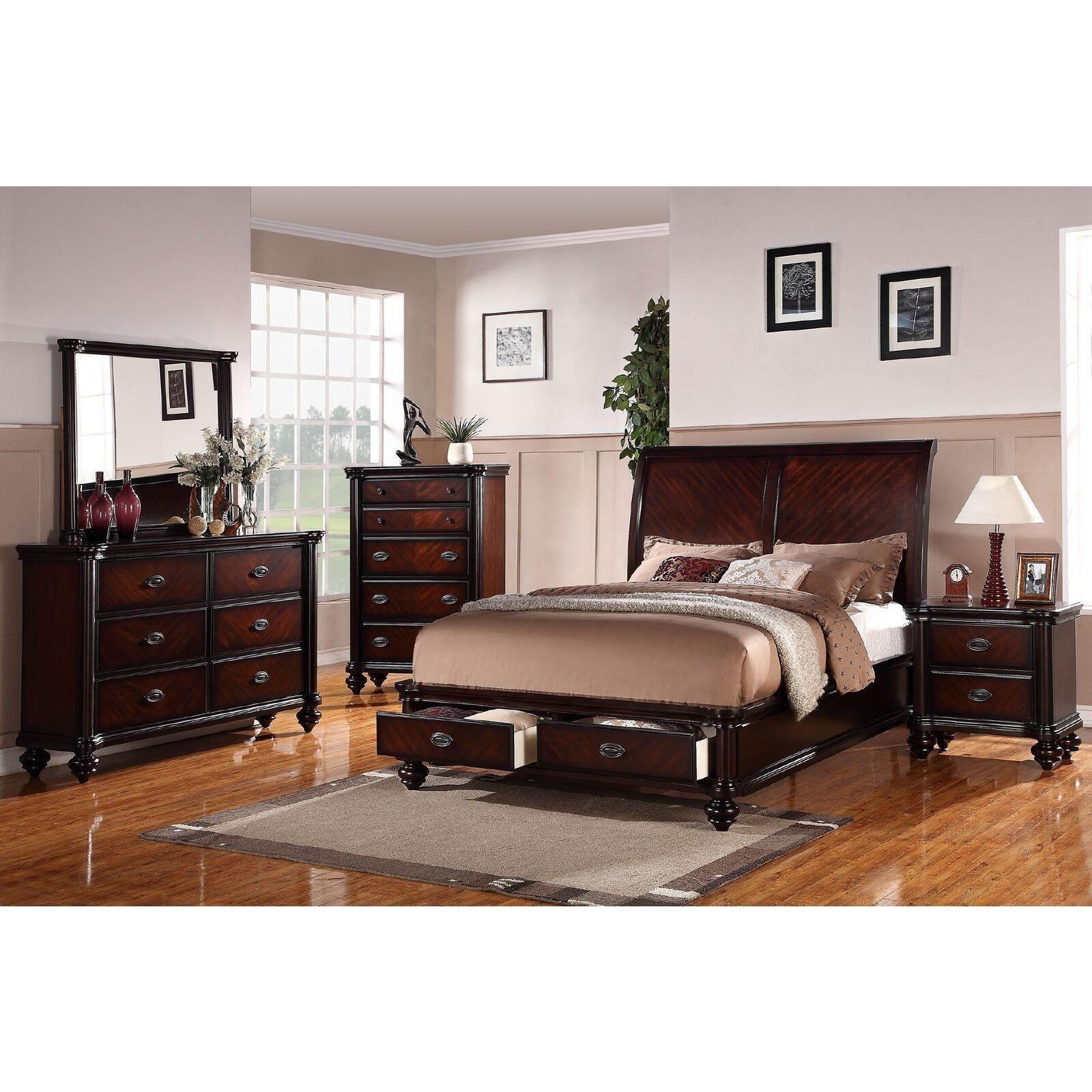 Anatolio cherry storage bed 4 piece bedroom set anatolio 4 piece california king bedroom set brown