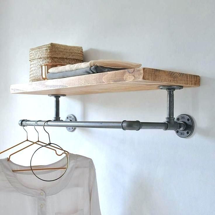 Wall Mounted Clothes Rail Hanging Rack The Best Ideas On Wardrobe With Regard